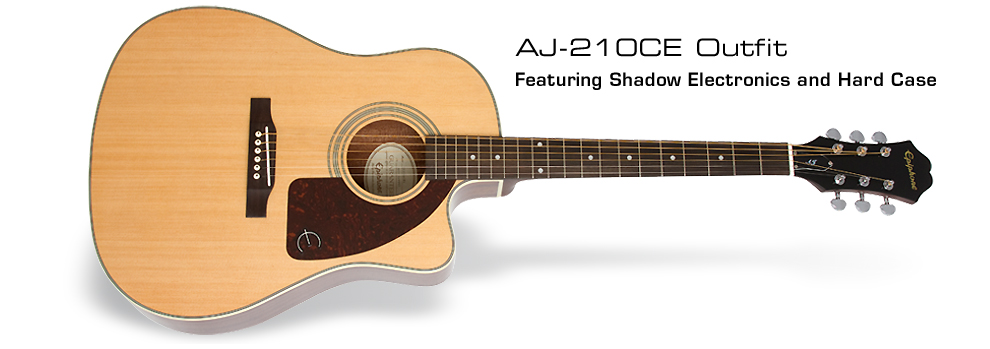 Epiphone AJ-210CE Acoustic/Electric Outfit : Featuring Shadow Electronics and Hard Case