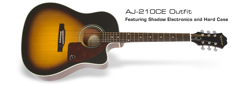 Epiphone AJ-210CE Acoustic/Electric Outfit : Featuring Active Preamp System and Hard Case