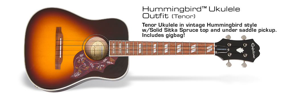 Hummingbird Tenor Acoustic/Electric Ukulele: Featuring a Solid Sitka Spruce Top and Under Saddle Pickup