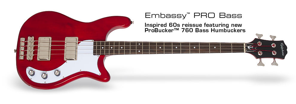 Epiphone Embassy PRO Bass: Inspired 60s reissue featuring new ProBuckerTM Bass Humbuckers