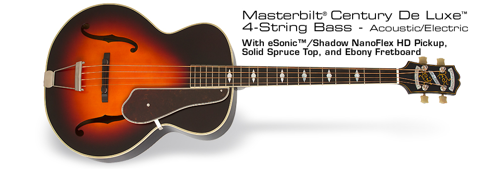 Masterbilt® De Luxe Classic™ 4-String Acoustic/Electric Bass Guitar: With eSonic™/Shadow NanoFlex HD Pickup, Solid Spruce Top, and Ebony Fretboard