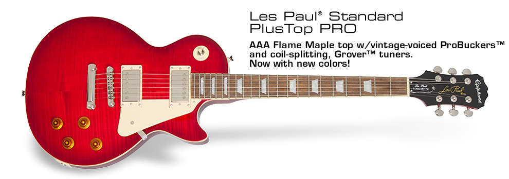 Les Paul Standard Plustop PRO: Featuring ProBucker™ humbuckers, Grover® tuners, and new colors!