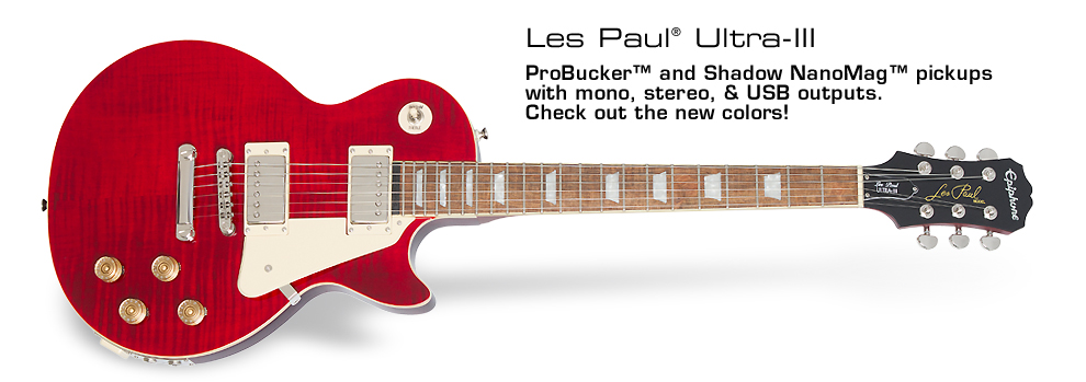 Les Paul Ultra-III: The Les Paul of the Future featuring Pro-Bucker™ and Shadow NanoMag™ pickups, USB/mono/stereo outputs, tuner, and more! Now available in new Black Cherry