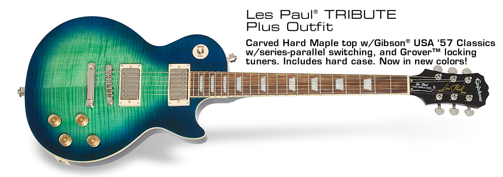 Les Paul Tribute Plus Outfit: AAA Flame Maple top, Gibson USA '57 Classics™ w/Push/Pull Series Parallel Switching, Hard Case, New Colors, and more!