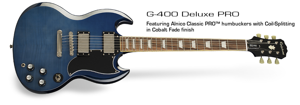 Epiphone G-400 Deluxe PRO: Featuring Alnico Classic PRO™ humbuckers with Coil-Tapping in Cobalt Fade finish