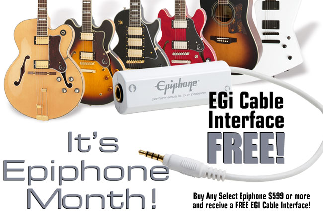 """Buy any select Epiphone """"Pack"""" and receive a FREE Belt Pack"""