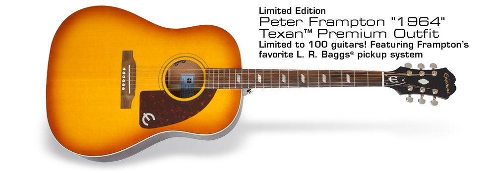"Ltd. Ed. Peter Frampton ""1964"" Texan Premium Outfit: Limited to 100 Guitars! Featuring Frampton's favorite L. R. Baggs® pickup system and Solid Spruce Top with Faded Vintageburst finish plus a Hand-Signed Certificate of Authenticity and Premium Hard Case"